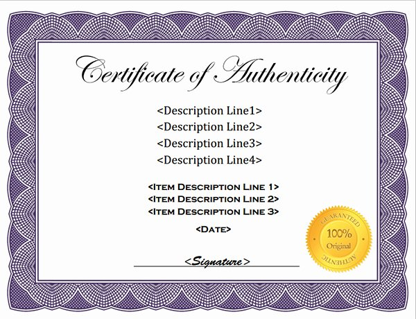 Certificate Of Authenticity Template Awesome Certificate Templates Sample Sample Of Certificate
