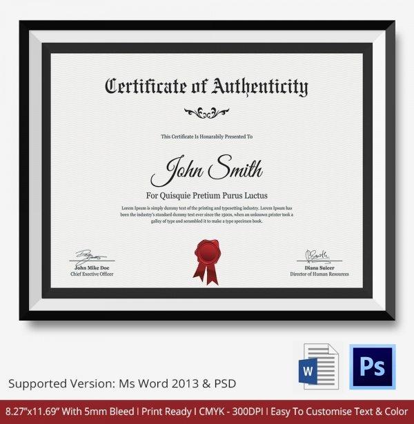 Certificate Of Authenticity Template Beautiful Certificate Of Authenticity Template 27 Free Word Pdf