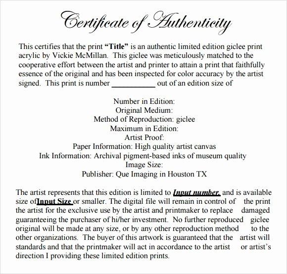 Certificate Of Authenticity Template Beautiful Sample Certificate Of Authenticity Template 36