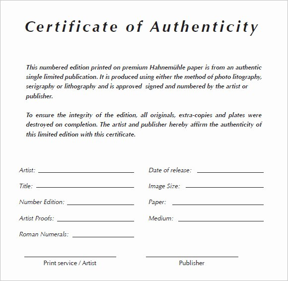 Certificate Of Authenticity Template Best Of 6 Certificate Authenticity Templates Website
