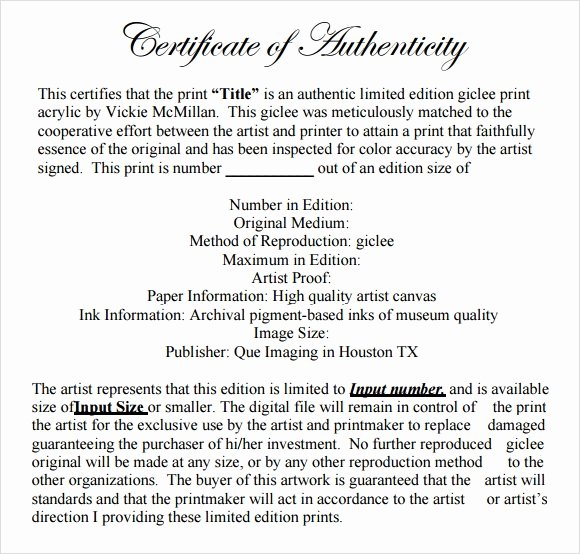 Certificate Of Authenticity Template Fresh Sample Certificate Of Authenticity Template 9 Free