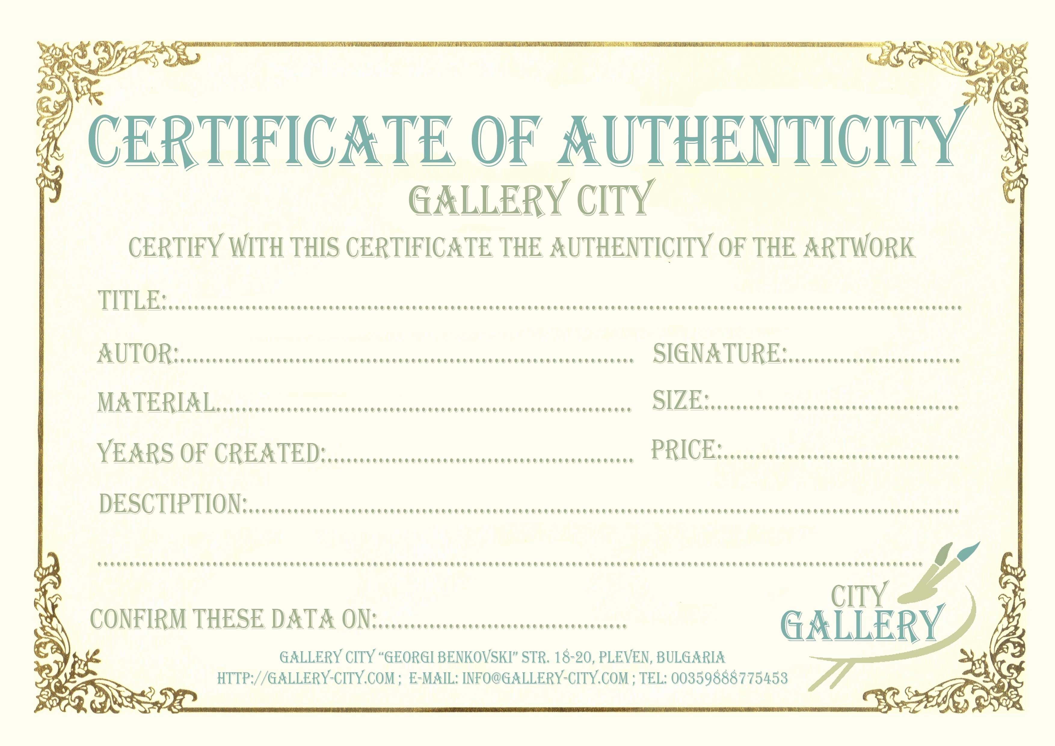 Certificate Of Authenticity Template Inspirational Certificate Authenticity Template Art Authenticity
