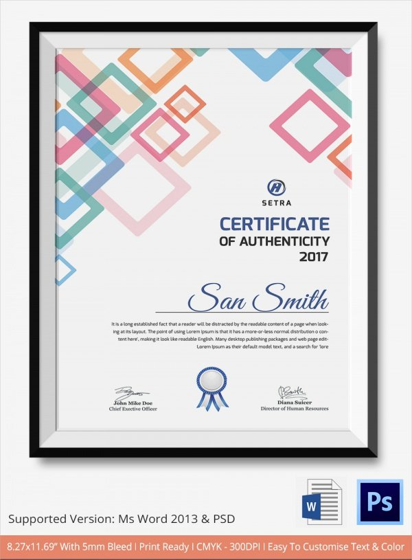 Certificate Of Authenticity Template Inspirational Sample Certificate Of Authenticity Template 36