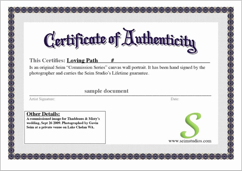 Certificate Of Authenticity Template Lovely Certificate Authenticity Template