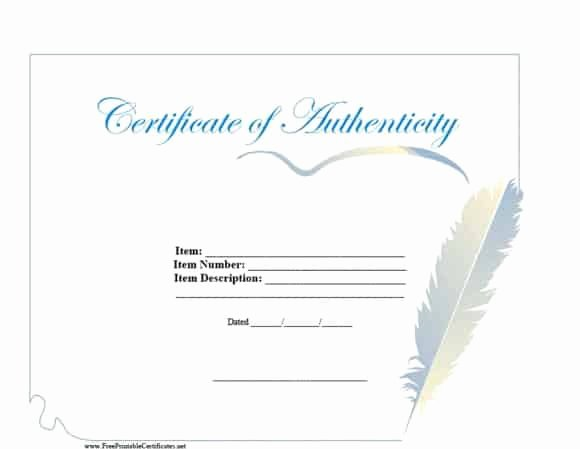 Certificate Of Authenticity Template New 37 Certificate Of Authenticity Templates Art Car