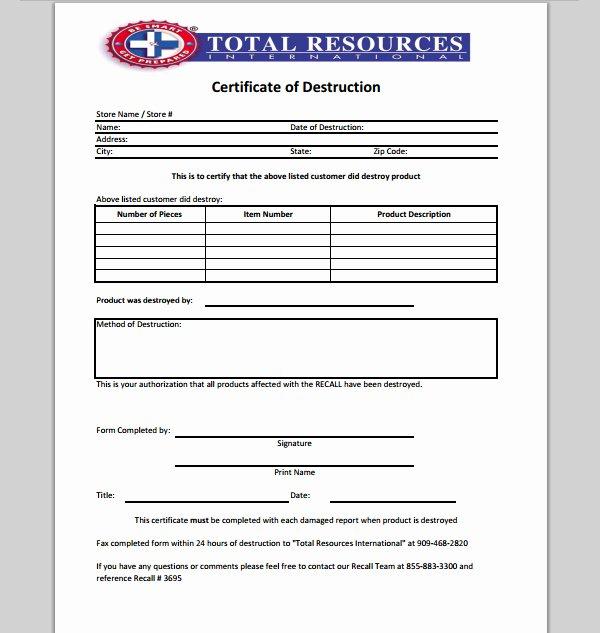 Certificate Of Data Destruction Template Beautiful 21 Of Records Destruction Log Template