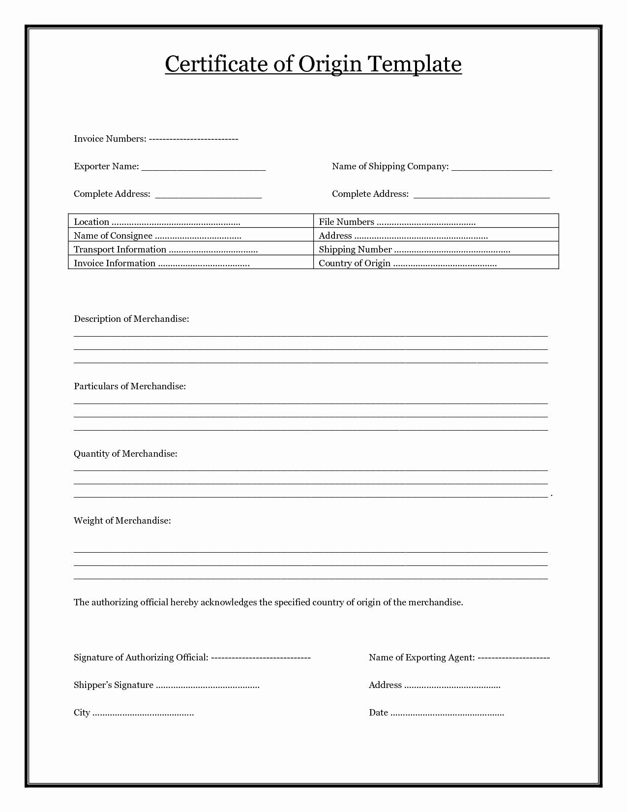Certificate Of Data Destruction Template Elegant Certificate origin Template Pdf Image Collections