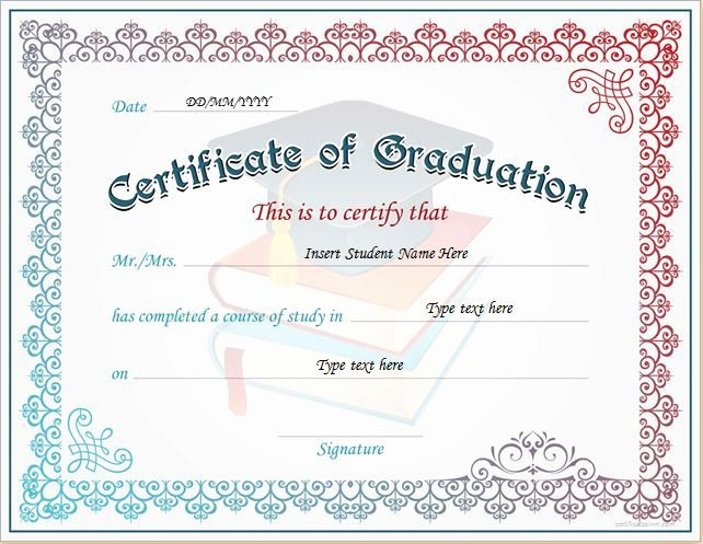 Certificate Of Data Destruction Template New Certificate Of Graduation for Ms Word Download at