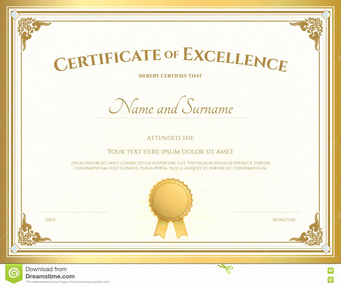 Certificate Of Excellence Template Elegant Certificate Excellence Template with Gold Border Stock