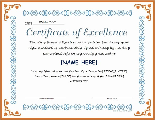 Certificate Of Excellence Template Elegant Certificates Of Excellence for Ms Word