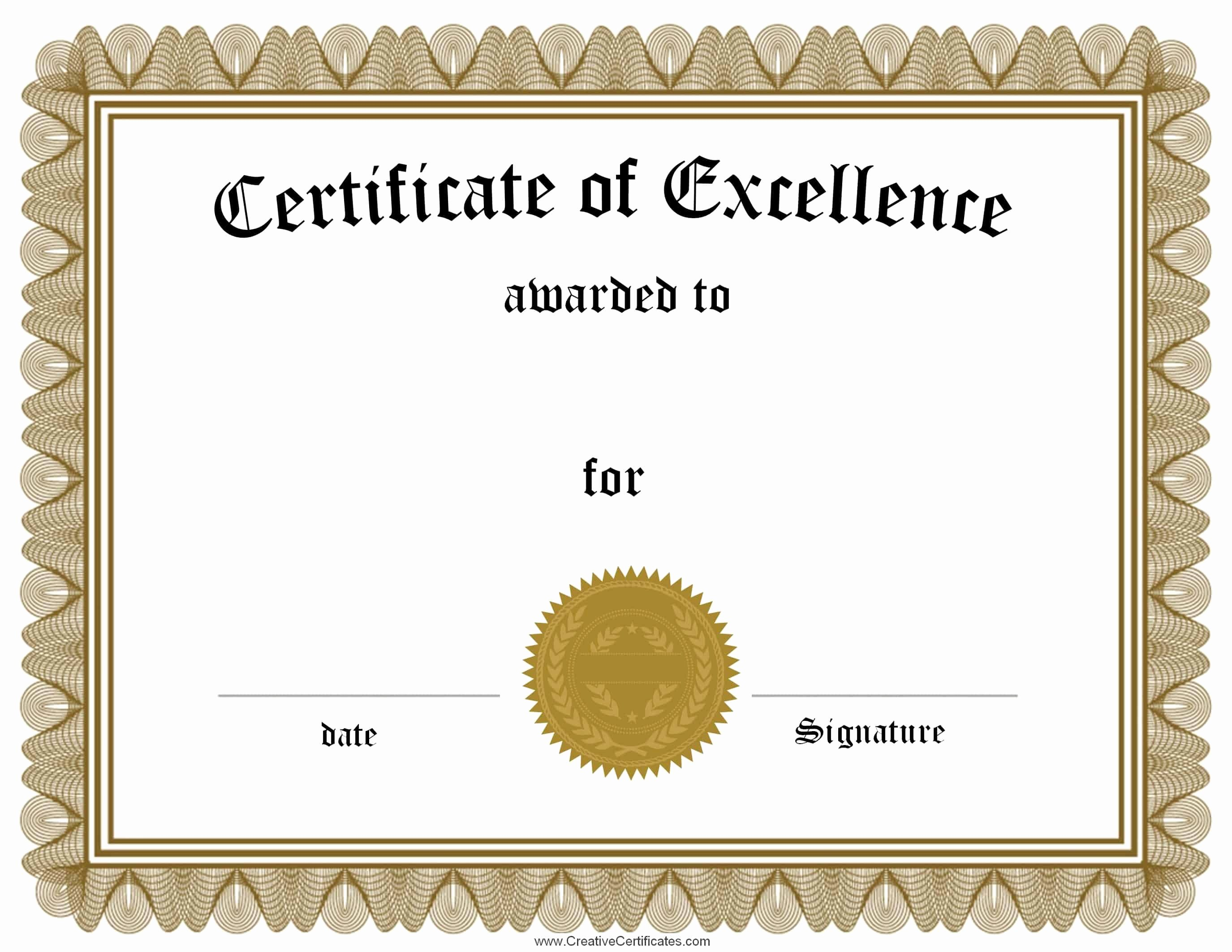Certificate Of Excellence Template Unique Free Customizable Certificate Of Achievement
