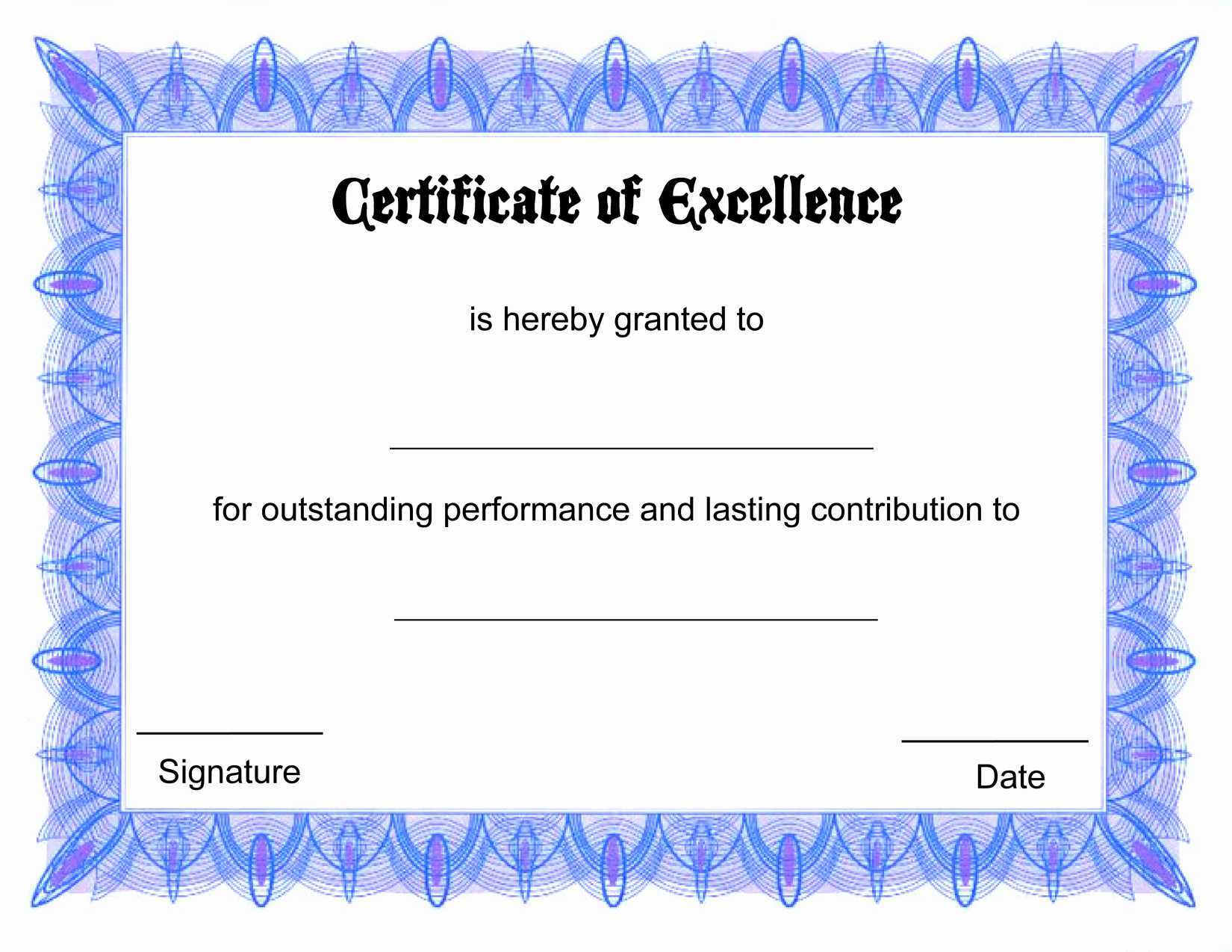 certificate template free printable free