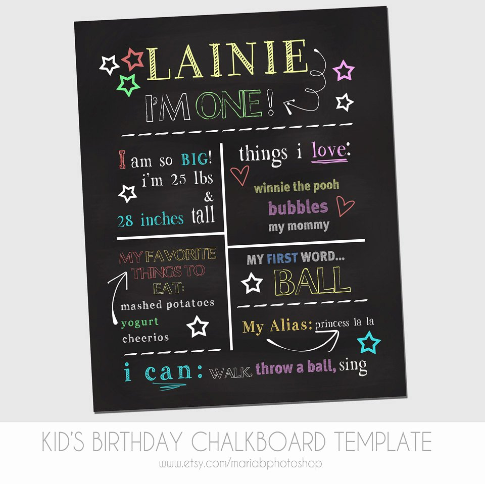 Chalkboard Poster Template Free Lovely Child S First Birthday Chalkboard Template Marketing