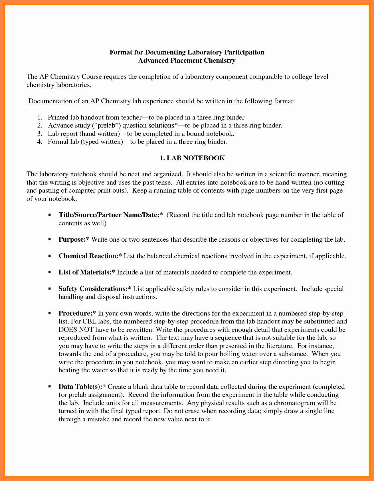 Chemistry Lab Report Template Elegant 6 High School Chemistry Lab Report Template