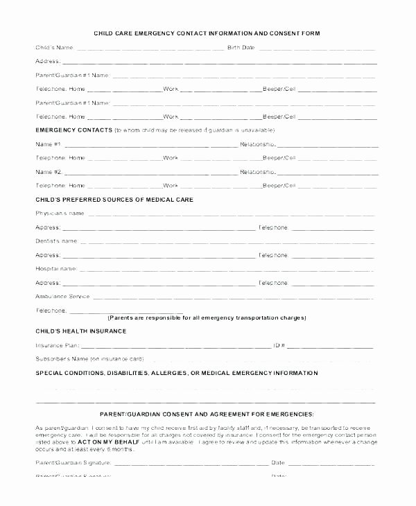 Child Care Application Template Fresh Daycare Registration form Template