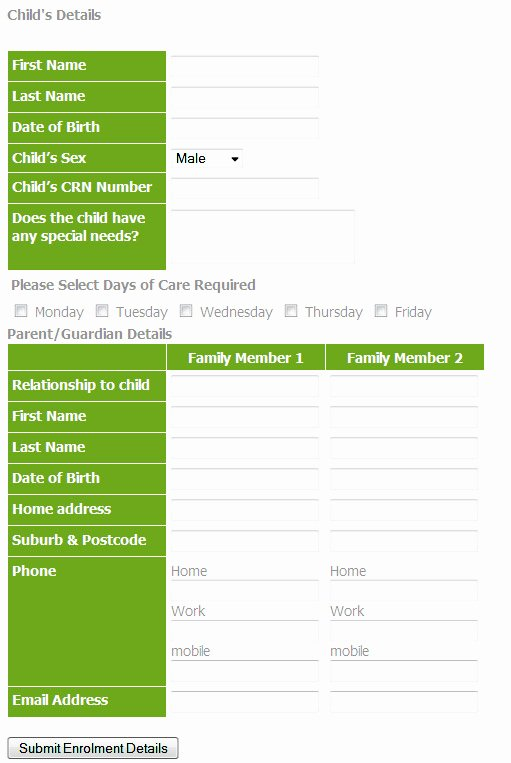 Child Care Application Template Inspirational Pin Child Enrollment form On Pinterest