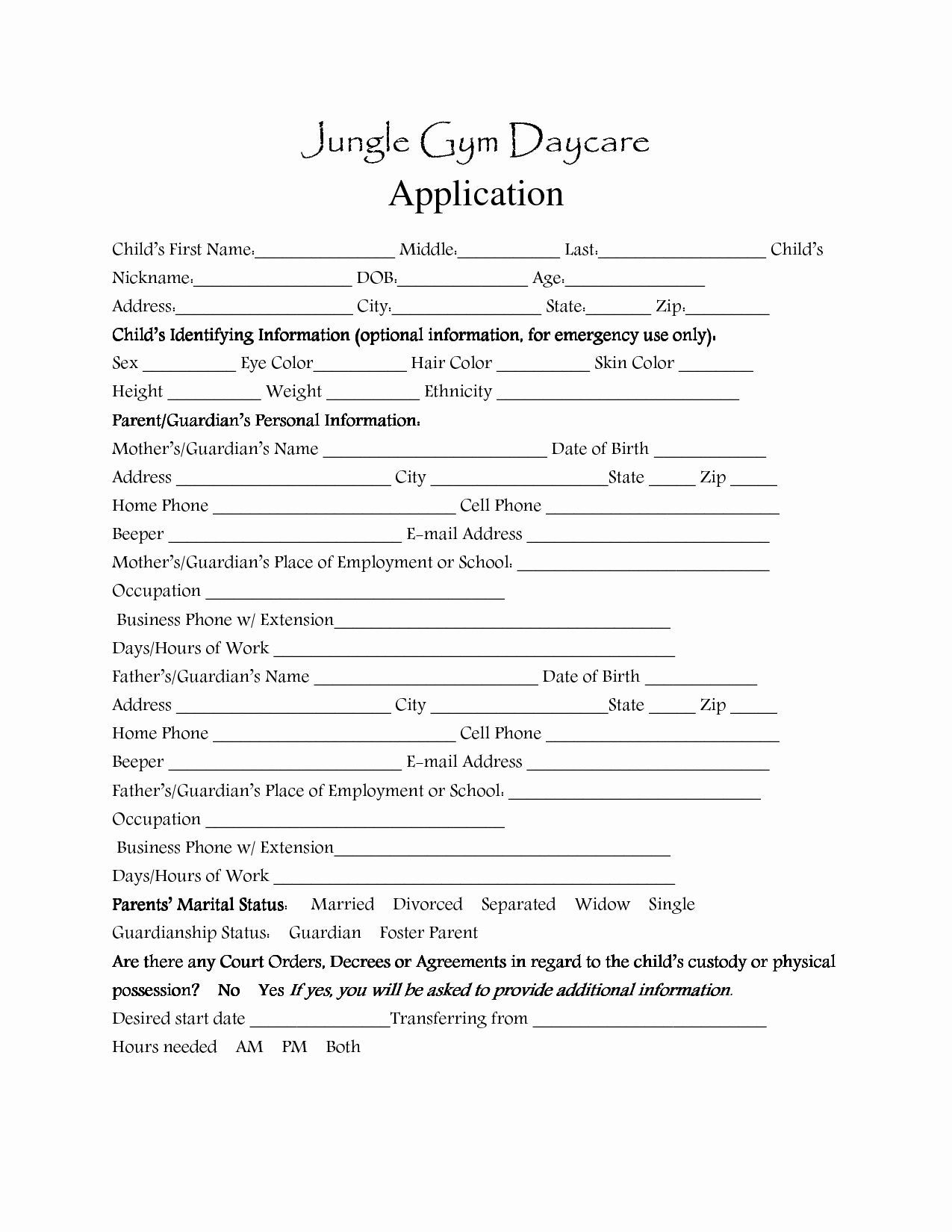 Child Care Application Template Lovely Day Care Application forms Template Daycare