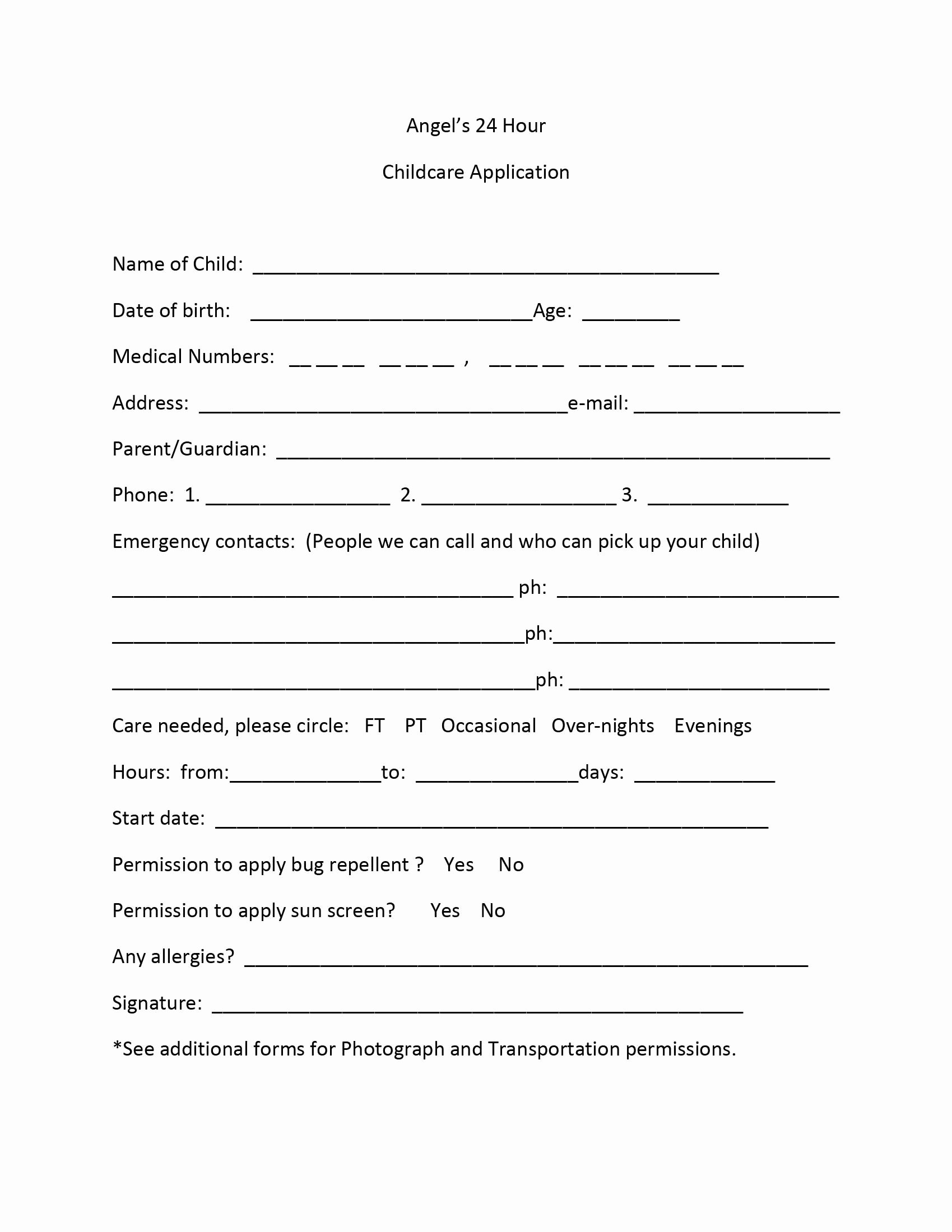 Child Care Application Template Luxury Application form