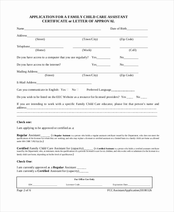 Child Care Application Template Luxury Sample Child Care Application form 9 Free Documents In