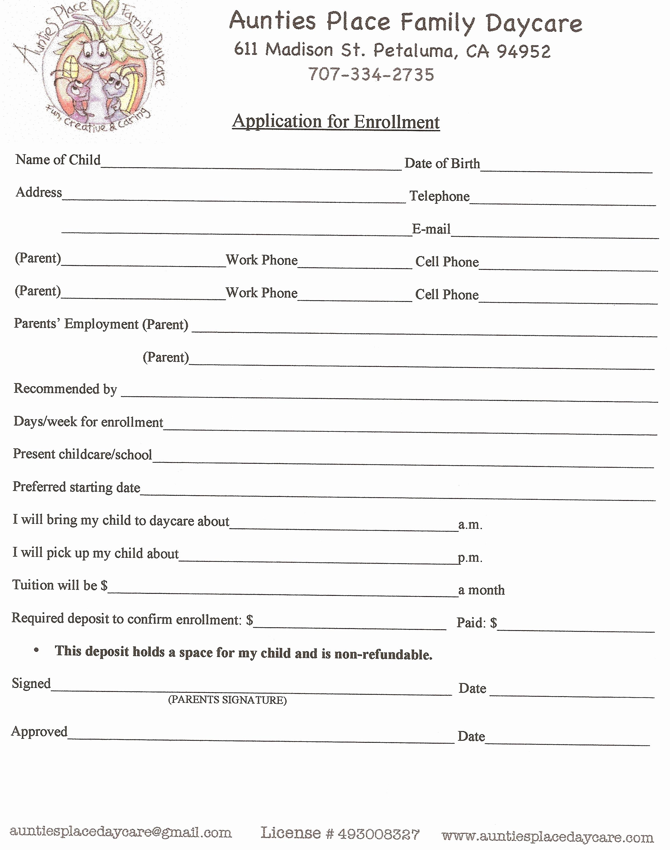 Child Care Application Template Unique Printable Daycare Applications