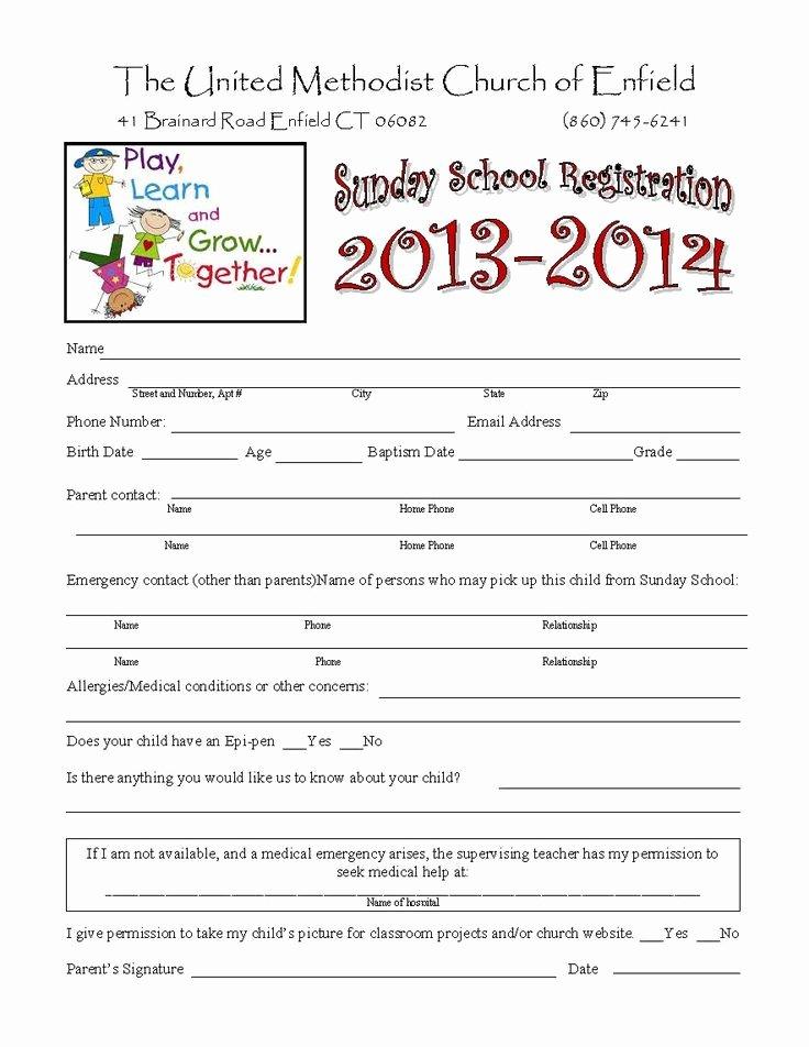 Child Care Application Template Unique Sunday School Registration form Biz Card