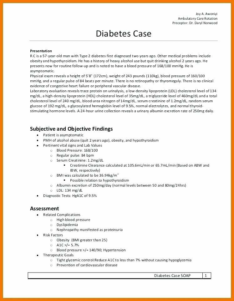 Chiropractic soap Notes Template Free Fresh Diabetic soap Note Template – Cbkifo