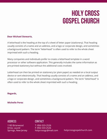 Church Letterhead Templates Luxury Letterhead Templates Canva