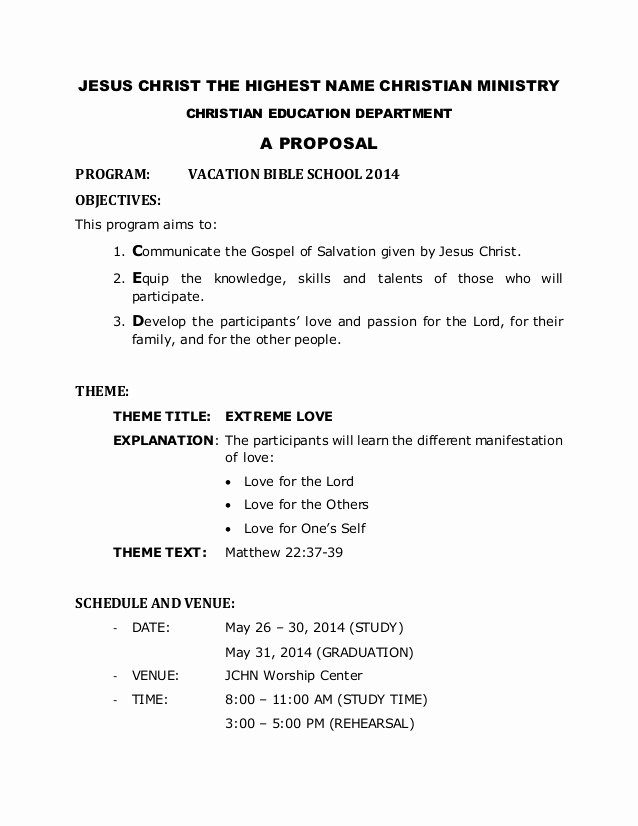 Church Ministry Budget Template Unique Vbs 2014 Proposal for Church
