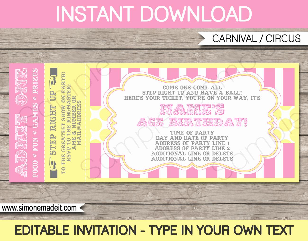 Circus Ticket Invitation Beautiful Carnival Birthday Ticket Invitation Template