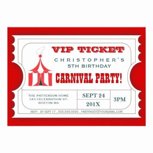 "Circus Ticket Invitation Elegant Circus Carnival Birthday Party Ticket Invitation 5"" X 7"