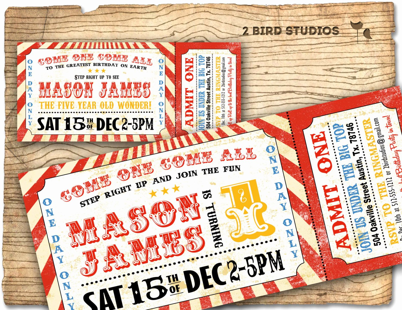 Circus Ticket Invitation Lovely Circus Invitation Vintage Circus Birthday Invitation Diy
