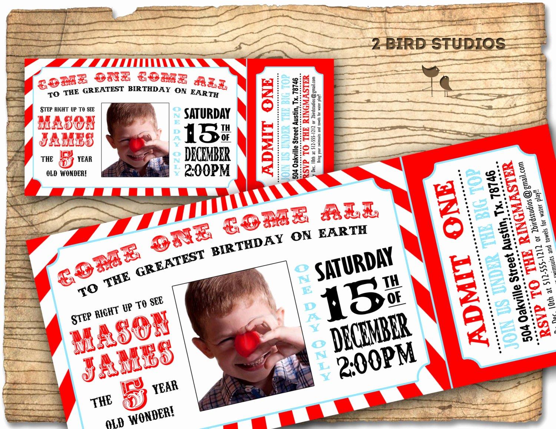 Circus Ticket Invitation Luxury Circus Invitation Vintage Circus Birthday Invite
