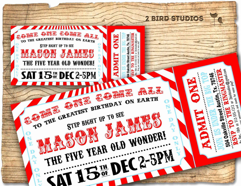 Circus Ticket Invitation Unique Circus Invitation Vintage Circus Birthday Invite