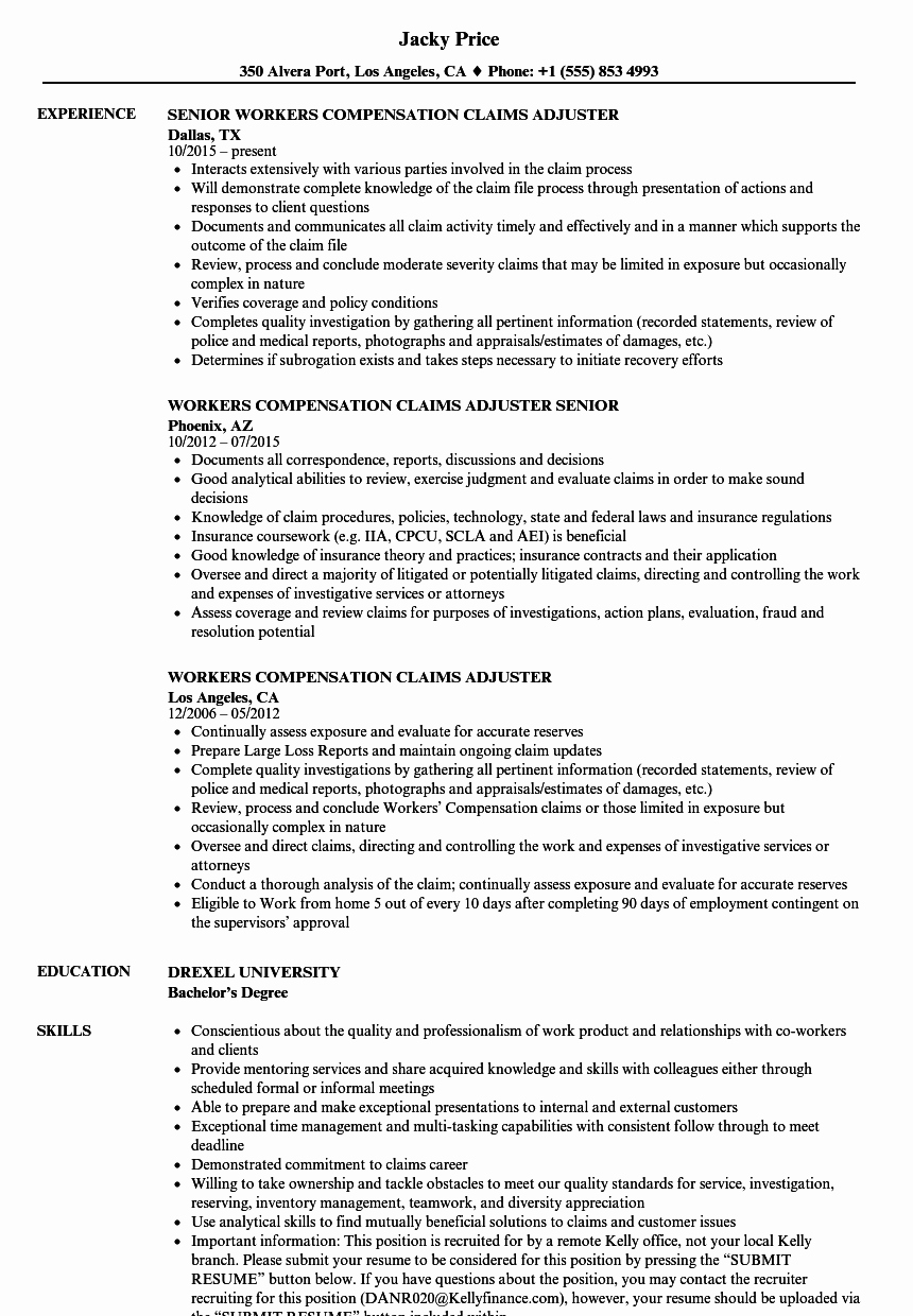 Claims Adjuster Resume Sample Lovely Workers Pensation Claims Adjuster Resume Samples