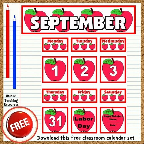 Free Printable September Classroom Calendar