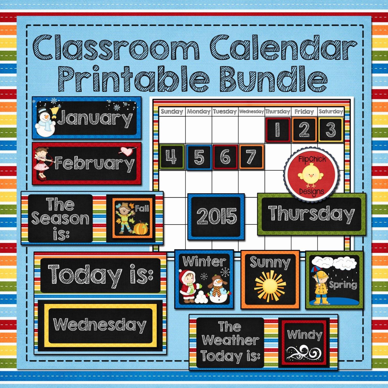 Classroom Calendar Template Luxury Classroom Calendar Printable Bundle