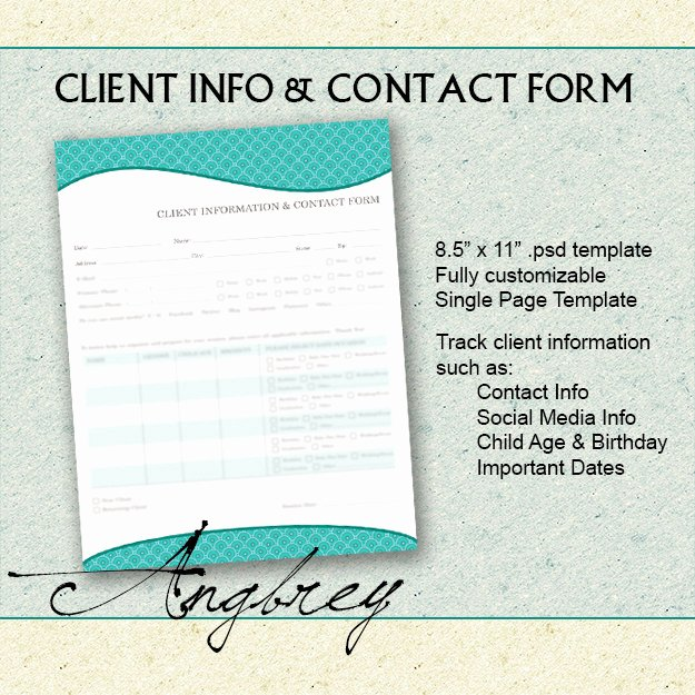 client info contact form for