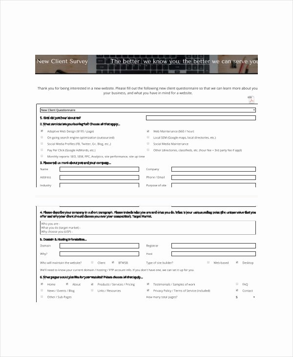 Client Notes Template Beautiful Client Survey Template 7 Free Word Pdf Documents