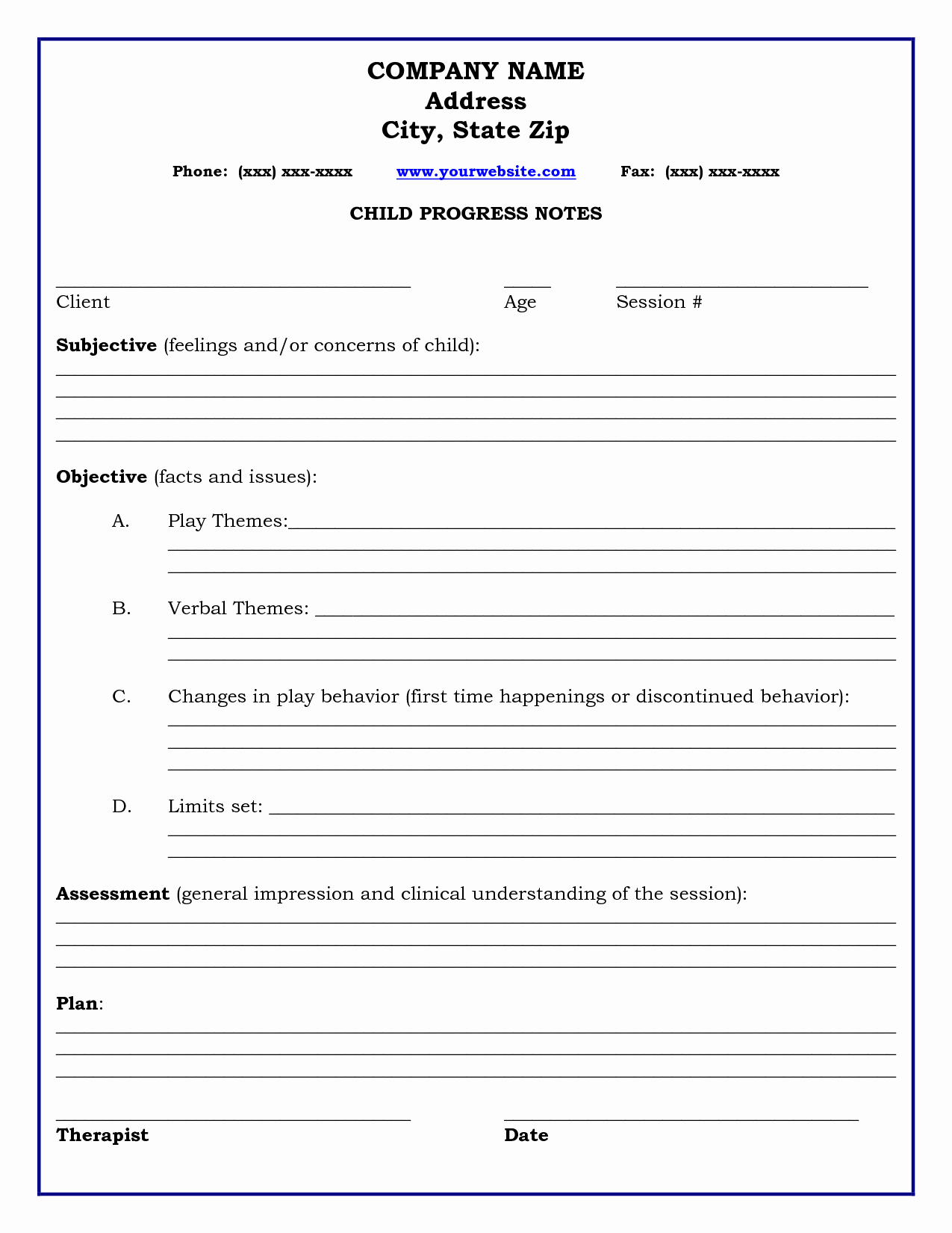 Client Notes Template Beautiful therapy Progress Note Template