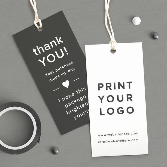 Clothing Hang Tag Template Luxury Custom Logo Labels Printed Logo Tag Thank You Coupon