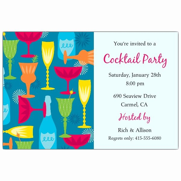 Cocktail Party Invite Templates Fresh Cocktail Party Blue Invitations