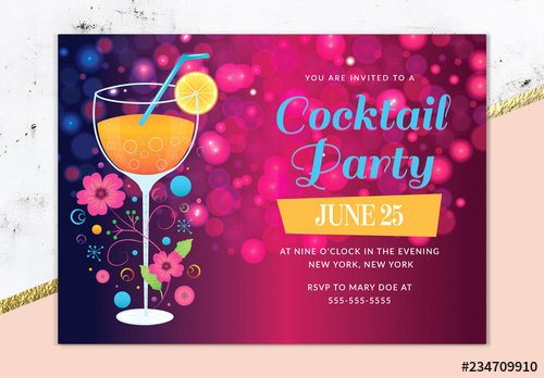Cocktail Party Invite Templates Fresh Cocktail Party Invitation Layout Buy This Stock Template