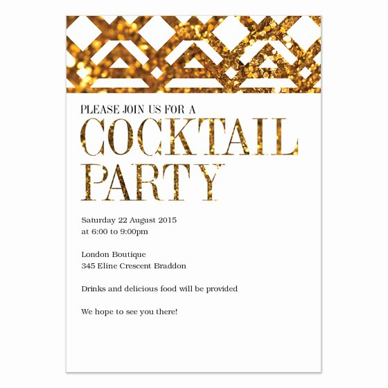 Cocktail Party Invite Templates Lovely Gold Cocktail Party Invitations & Cards On Pingg