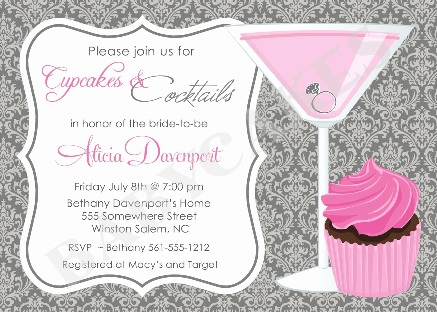 Cocktail Party Invite Templates New Cupcakes and Cocktails Bridal Shower Invitation by Jcbabycakes