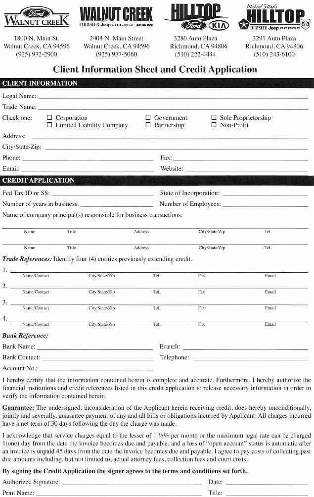 Commercial Credit Application New Hilltop Chrysler Jeep Dodge Ram