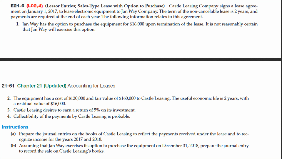 Company Equipment Use and Return Policy Agreement Unique solved Castle Leasing Pany Signs A Lease Agreement