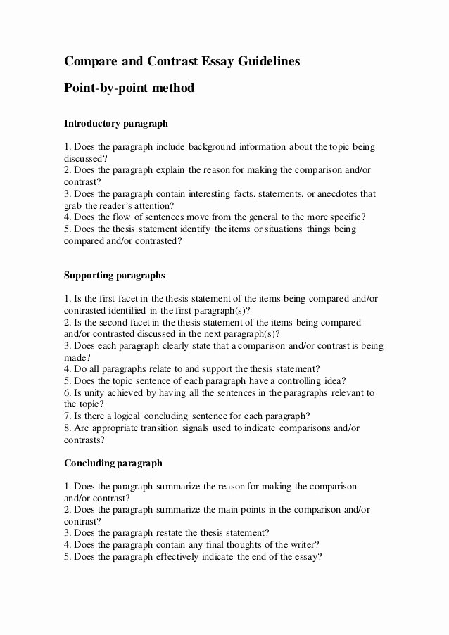 pare and contrast essay guidelines