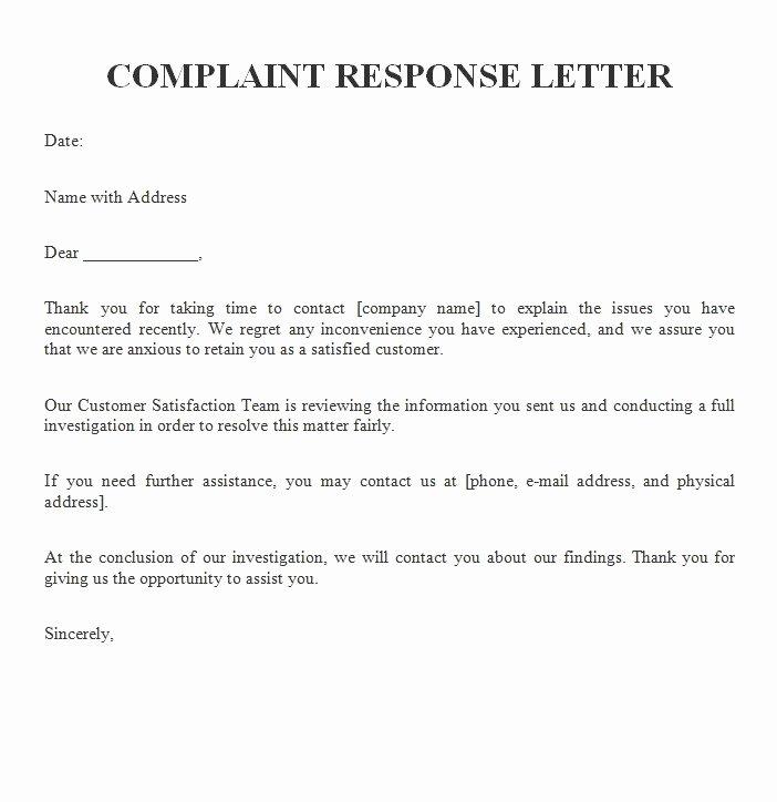 plaint response letter