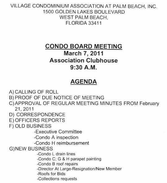 notice of board meeting village condominium association 930 am march 7 2011