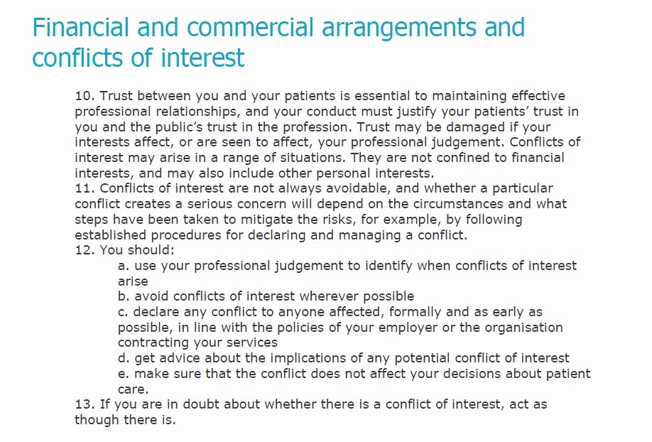 """Conflict Of Interest Letter Lovely the Gmc Say """"if You are In Doubt About whether there is A"""